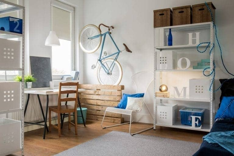 Small home office set up in a studio apartment