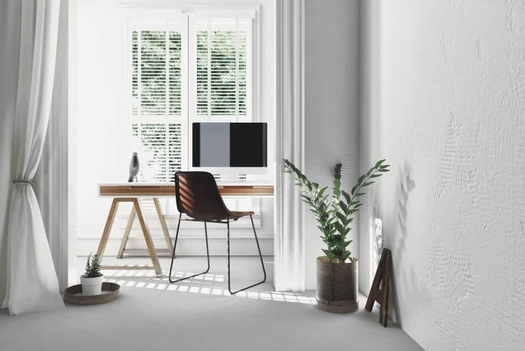 Modern simple office with trestle desk