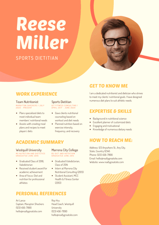 Canva Resume Example 2